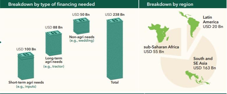 Diagram showing financing gap of smallholders worldwide